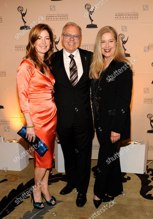 "MAY 5: (L-R) Host Dana Delaney, executive producer/presenter John Shaffner and TV Academy Honors Committee Co-Chair Lynn Roth arrive at the Academy Of Television Arts & Sciences Presents ""The 4th Annual Television Academy Honors"" at the Beverly Hills Hotel, in Beverly Hills, California"