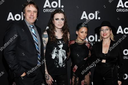 Stock Picture of From left, Kevin Nealon, Laura Jane Grace, Nicole Richie, and Tiffany Shlain attend AOL's Fall Programming Premiere Event, in West Hollywood, Calif