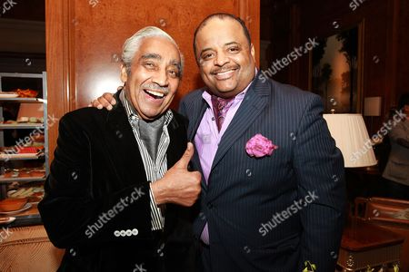 NY-Rep. Charles Rangel and journalist Roland Martin attend Aretha Franklin's 74th Birthday Celebration at the Ritz-Carlton, in New York