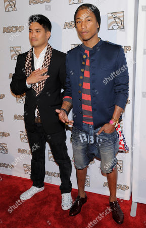 Honoree Pharrell Williams, right, and producing partner Chad Hugo pose together at the 25th Annual ASCAP Rhythm & Soul Music Awards, in Beverly Hills, Calif