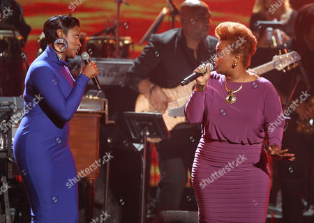 Jessica Reedy, left, and Amber Bullock perform at the BET Awards, in Los Angeles