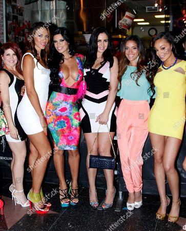 L-R) Models Denise Awad, Vanessa Ames, Suelyn Medeiros, Ariiana Mel, Giulini Wever and Chanta Patton arrive at Suelyn Medeiros Birthday Celebration on at Playhouse Hollywood in Los Angeles, California