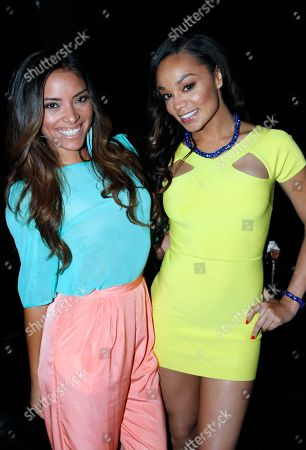 Models Giulini Wever and Chanta Patton attend Suelyn Medeiros Birthday Celebration on at Playhouse Hollywood in Los Angeles, California