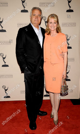 """LOS ANGELES CA - JUNE 14: Nominee John McCook (L) and wife Laurette Spang arrive at the """"Daytime Emmy Nominee Reception Presented by the Academy of Television Arts & Sciences' Daytime Programming Peer Group"""" in the Garden Room & Terrace at the SLS Hotel at Beverly Hills on in Los Angeles, California. The 39th Daytime Entertainment Emmy Awards, presented by the National Academy, will take place on June 23, 2012 at The Beverly Hills Hotel"""
