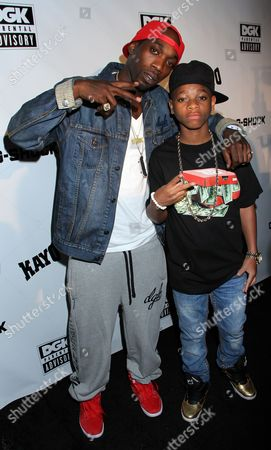 Pro skater Stevie Williams and young rapper and actor Lil Nigo attend DGK Parental Advisory Premiere and Concert on Tuesday, December, 11th, 2012, at Avalon in Hollywood, California
