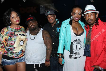 """L-R) Model Vanessa Veasley, musician and TV personality Cee-Lo Green, producer Kannon """"Cavi"""" Cross, TV personality Brooke Bailey rapper Big Gipp attend Parental Advisory Premiere and Concert on Tuesday, December, 11th, 2012, at Avalon in Hollywood, California"""