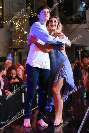 """Stock Picture of Hayes Grier, left, and Emma Slater onstage during the finale of """"Dancing With The Stars"""" held at The Grove, in Los Angeles"""