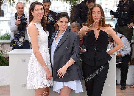 From left, Zoe Bruneau, Heloise Godet and Jessica Erickson during a photo call for Goodbye to Language (Adieu au language) at the 67th international film festival, Cannes, southern France