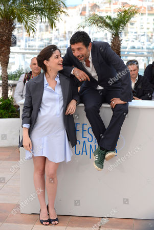 Heloise Godet, left, and Kamel Abdelli during a photo call for Goodbye to Language (Adieu au language) at the 67th international film festival, Cannes, southern France