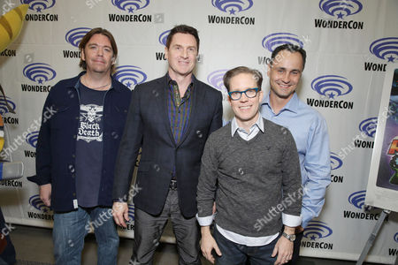 """Director/Writer/Executive Producer Kevin Munroe, David Kaye, James Arnold Taylor and Producer Brad Foxhoven seen at Gramercy Pictures """"Ratchet & Clank"""" Wondercon Presentation at Los Angeles Convention Center, in Los Angeles, CA"""