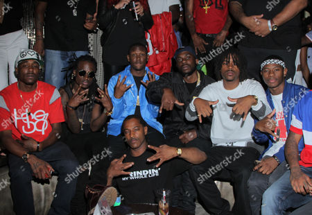 Hit Boy, second from left, and Audio Push seen at Interscope Records Pre Party at the W Hotel Hollywood, in Los Angeles, Calif