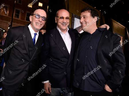 """From left to right, producer Mark Canton, producer Gianni Nunnari, and director Noam Murro attend the premiere for the feature film """"300: Rise of an Empire"""" at TCL Chinese Theatre on in Los Angeles"""
