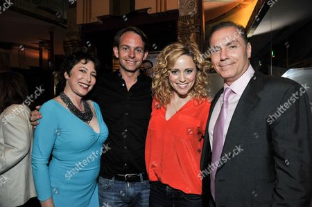 """From left, Diane Robin, guest, Annie Tedesco, and Al Sapienza attend the after party for the LA Premiere of """"Authors Anonymous"""", in Los Angeles"""