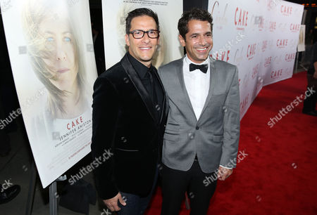 """Stock Image of Producer Ben Barnz, left, and director Daniel Barnz arrive at the Los Angeles premiere of """"Cake"""" at the ArcLight on"""