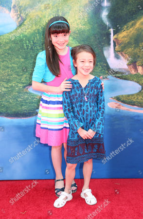 "Chloe Noelle, left, and Aubrey Anderson-Emmons arrive at LA Premiere of ""The Pirate Fairy"" on in Burbank, Calif"