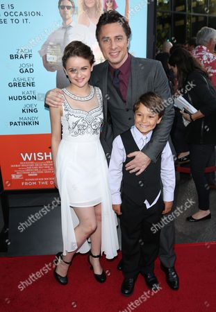 Joey King and from left, Zach Braff and Pierce Gagnon arrive at the Los Angeles premiere of 'Wish I Was Here' at the Directors Guild of America Theater on