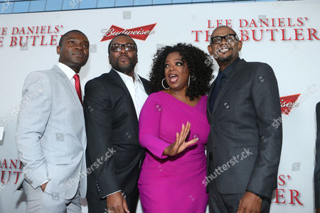 """Stephen Rider, director Lee Daniels, and actors Oprah Winfrey and Forest Whitaker pose for photos at the Los Angeles Premiere of """"The Butler,"""" in Los Angeles"""