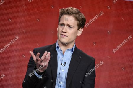 """Gavin Stenhouse speaks on stage during the """"Allegiance"""" panel at the NBC 2015 Winter TCA, in Pasadena, Calif"""
