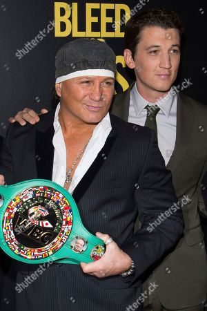 """Vinny Paz, left, and Miles Teller attend the premiere of """"Bleed For This"""" hosted by Open Road and Men's Fitness at AMC Loews Lincoln Square, in New York"""