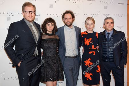Ben York Jones, Felicity Jones, Drake Doremus, Amy Ryan, and Daniel Battsek attends the 'Breath In' premiere, on in New York
