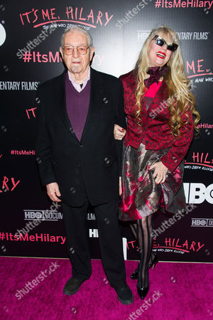 "Hilary Knight, left, and Phoebe Legere attend a screening of HBO's ""It's Me, Hilary: The Man Who Drew Eloise"" at the Plaza Hotel on in New York"