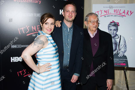 """Executive producer Lena Dunham, from left, director Matt Wolf and subject Hilary Knight attend a screening of HBO's """"It's Me, Hilary: The Man Who Drew Eloise"""" at the Plaza Hotel on in New York"""