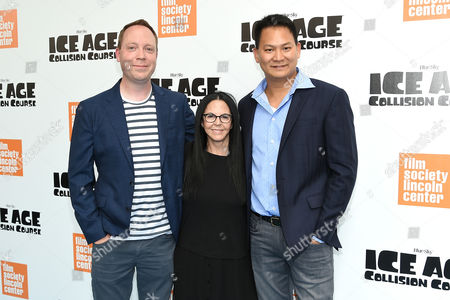 """Director Michael Thurmeier, left, producer Lori Forte and co-director Galen Tan Chu attend a special screening of, """"Ice Age: Collision Course"""", at the Walter Reade Theater, in New York"""