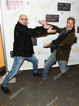 """Stock Photo of Steve Loter, left, and Michael Wigert, right, attend a special screening of """"Tinker Bell and the Legend of the Neverbeast"""" at the SVA Theatre, in New York"""