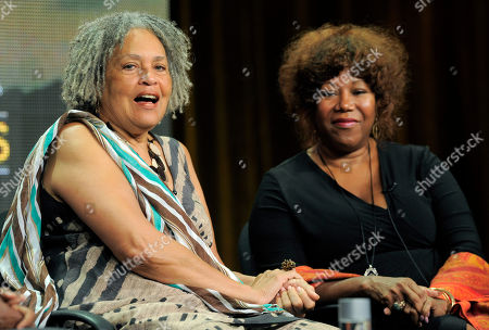 "Journalist Charlayne Hunter-Gault, left, and civil rights icon Ruby Bridges take part in a panel discussion on ""The African Americans: Many Rivers to Cross with Henry Louis Gates Jr.,"" during the PBS Summer 2013 TCA press tour at the Beverly Hilton Hotel on in Beverly Hills, Calif"