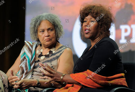 "Civil rights icon Ruby Bridges, right, and journalist Charlayne Hunter-Gault take part in a panel discussion on ""The African Americans: Many Rivers to Cross with Henry Louis Gates Jr.,"" at the PBS Summer 2013 TCA press tour at the Beverly Hilton Hotel on in Beverly Hills, Calif"