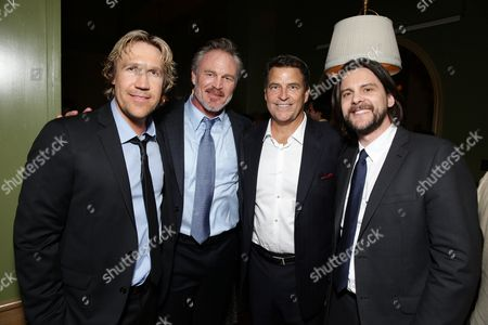 "Pure Flix Entertainment's David A.R. White, Brian Bosworth,Ted McGinley and Director Jonathan M. Gunn seen at Pure Flix Entertainment premiere of ""Do You Believe?"" at Arclight Hollywood, in Los Angeles, CA"