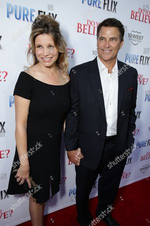 "Gigi Rice and Ted McGinley seen at Pure Flix Entertainment premiere of ""Do You Believe?"" at Arclight Hollywood, in Los Angeles, CA"