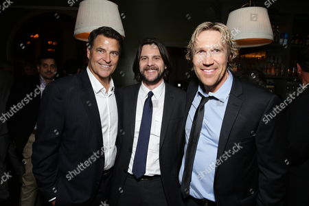 "Ted McGinley, Director Jonathan M. Gunn and Pure Flix Entertainment's David A.R. White seen at Pure Flix Entertainment premiere of ""Do You Believe?"" at Arclight Hollywood, in Los Angeles, CA"