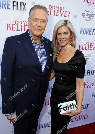 """Lee Majors and Faith Majors seen at Pure Flix Entertainment premiere of """"Do You Believe?"""" at Arclight Hollywood, in Los Angeles, CA"""