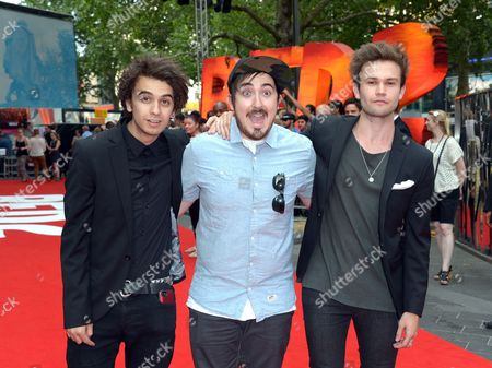 Stock Image of Stefan Abingdon, Dru Wakely and Ashley Horne of The Midnight Beast arrive at the European Premiere of Red 2, on in London