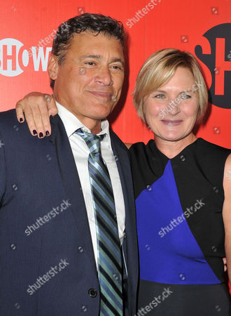 Steven Bauer, at left, and Denise Crosby arrives at the Showtime Primetime Emmy's Eve Party at the Sunset Tower on in Los Angeles