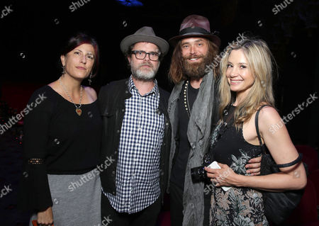 """Holiday Reinhorn, Rainn Wilson, Christopher Backus, and Mira Sorvino are seen at Showtime's """"Roadies"""" Premiere at The Theatre at ACE Hotel, in Los Angeles"""