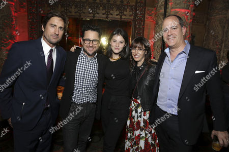 "Luke Wilson, J.J. Abrams, Gracie Abrams, Andrea Nevins, and David Nevins, President and CEO, Showtime Networks at Showtime's ""Roadies"" Premiere at The Theatre at ACE Hotel, in Los Angeles"