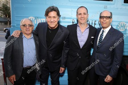"""Executive Producer Irving Azoff, Executive Producer Cameron Crowe, David Nevins, President and CEO, Showtime Networks, and Matthew C. Blank, Chairman, Showtime Networks at Showtime's """"Roadies"""" Premiere at The Theatre at ACE Hotel, in Los Angeles"""