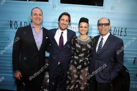 """David Nevins, President and CEO, Showtime Networks, Luke Wilson, Carla Gugino, and Matthew C. Blank, Chairman, Showtime Networks at Showtime's """"Roadies"""" Premiere at The Theatre at ACE Hotel, in Los Angeles"""