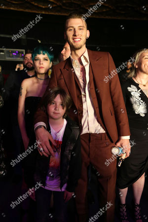 """Halsey, Ethan Michael Mora, and Machine Gun Kelly are seen at Showtime's """"Roadies"""" Premiere at The Theatre at ACE Hotel, in Los Angeles"""