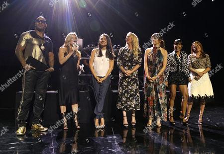 "Flo Rida, Ellen K, Mila Kunis, Christina Applegate, Kathryn Hahn, Jada Pinkett Smith, and Annie Mumolo are seen at STX Entertainment ""Bad Moms"" junket screening event held at the iHeartRadio Theater, in Burbank, Calif"