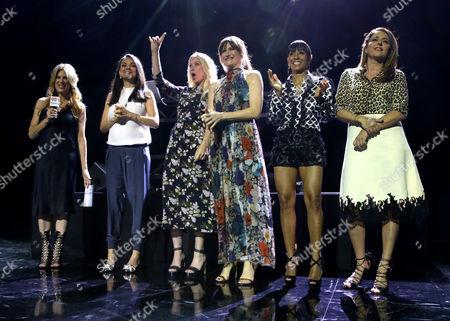 "Ellen K, Mila Kunis, Christina Applegate, Kathryn Hahn, Jada Pinkett Smith, and Annie Mumolo are seen at STX Entertainment ""Bad Moms"" junket screening event held at the iHeartRadio Theater, in Burbank, Calif"
