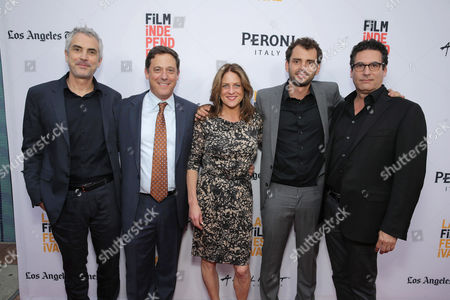 "Producer Alfonso Cuaron, Adam Fogelson, Chairman, Motion Picture Group at STX Entertainment, Cathy Schulman, President of Production at STX Entertainment, Director/Writer/Producer Jonas Cuaron and Oren Aviv, President and Chief Content Officer, Motion Picture Group at STX Entertainment, seen at STX Entertainment's Premiere of ""Desierto"" at 2016 LA Film Festival Closing Night, in Culver City, Calif"