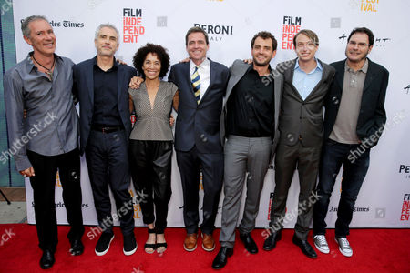 "Producer Alex Garcia, Producer Alfonso Cuaron, Stephanie Allain, Director of the LA Film Festival, Josh Welsh, President of Film Independent, Director/Writer/Producer Jonas Cuaron, Executive Producer Nicolas Celis and Producer Carlos Cuaron seen at STX Entertainment's Premiere of ""Desierto"" at 2016 LA Film Festival Closing Night, in Culver City, Calif"