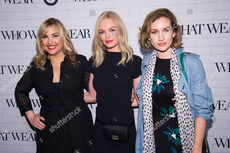 Hillary Kerr, left, Kate Bosworth and Katherine Power attend the Target and Who What Wear apparel and accessories collection launch celebration at ArtBeam, in New York