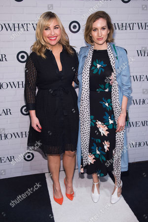 Hillary Kerr, left, and Katherine Power attend the Target and Who What Wear apparel and accessories collection launch celebration at ArtBeam, in New York