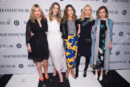Hillary Kerr, from left, Jaime King, Jessica Alba, Kate Bosworth and Katherine Power attend the Target and Who What Wear apparel and accessories collection launch celebration at ArtBeam, in New York