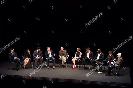"Amir Arison, Parminder Nagra, Harry Lennix, Diego Klattenhoff, James Spader, Megan Boone, Ryan Eggold, Hisham Tawfiq, John Fox and Bill Carter participate in a panel discussion at the Television Academy Presents an Evening with ""The Blacklist"" on in New York"