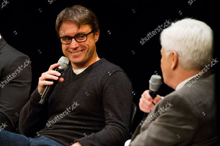 """Stock Photo of John Fox, left, and Bill Carter participate in a panel discussion at the Television Academy Presents an Evening with """"The Blacklist"""" on in New York"""